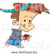 Clip Art of a Cartoon Brunette White Boy Walking and Playing a Video Game by Toonaday