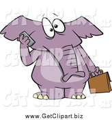 Clip Art of a Cartoon Business Elephant Talking on a Cell Phone by Toonaday