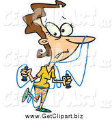 Clip Art of a Cartoon Caucasian Woman Tangled in Jump Rope by Toonaday