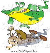 Clip Art of a Cartoon Crocodile Jumping on a Hunter by Toonaday
