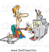 Clip Art of a Cartoon Digital Artist Man Working on a Computer by Toonaday