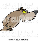 Clip Art of a Cartoon Disgruntled Bear Leaning by Toonaday