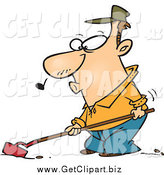 Clip Art of a Cartoon Farmer Whistling and Cultivating by Toonaday