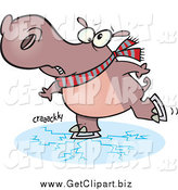 December 11th, 2014: Clip Art of a Cartoon Hippo Ice Skating with Cracks by Toonaday