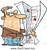 Clip Art of a Cartoon Secretive White Man with a Big Map by Toonaday