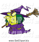 Clip Art of a Cartoon Short Witch Carrying a Broom by Toonaday