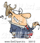 Clip Art of a Cartoon White Businessman Smoking a Cigar and Listening to Music by Toonaday