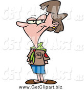Clip Art of a Cartoon White Female Scout Leader Posing by Toonaday
