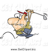 Clip Art of a Cartoon White Male Golfer Swinging at His Last Ball by Toonaday