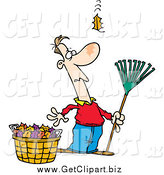Clip Art of a Cartoon White Man Raking Leaves, Watching yet Another Fall by Toonaday