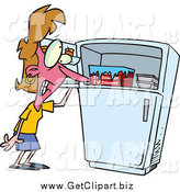 November 15th, 2014: Clip Art of a Cartoon White Woman Standing by a Freezer During a Hot Flash by Toonaday