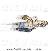 Clip Art of a Caucasian Business Man Jumping Excitedly Forward into Advancement by Toonaday