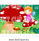 August 3rd, 2014: Clip Art of a Caucasian Fairy Girl Sitting with Mushrooms by BNP Design Studio