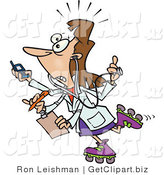 Clip Art of a Caucasian Female Doctor with Four Arms Multi Tasking by Toonaday