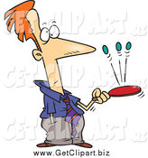 Clip Art of a Caucasian Idle Businessman Playing with a Paddle by Toonaday