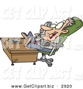 Clip Art of a Caucasian Lazy Business Man with His Feet on a Desk, Talking on a Telephone by Toonaday