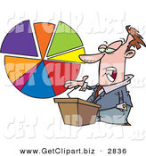 Clip Art of a Caucasian Male Business Man Standing at a Podium, Discussing a Pie Chart on White by Toonaday