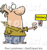 Clip Art of a Caucasian Man About to Push a Customer Service Button Under an Assistance Sign by Toonaday