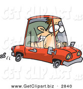Clip Art of a Caucasian Man Squished into a Tiny Red Compact Mini Car on White by Toonaday