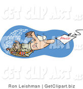 Clip Art of a Caucasian Man Swimming After a Hooked Bonus Underwater by Toonaday