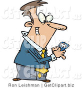 Clip Art of a Caucasian Man Using a BlackBerry Wireless Handheld Device to Send Text Messages by Toonaday