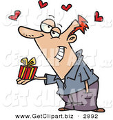 Clip Art of a Caucasian Person Holding a Valentine's Day Gift, Hearts Above His Head by Toonaday
