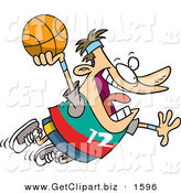 Clip Art of a Caucasian Sporty Man About to Dunk a Basketball by Toonaday