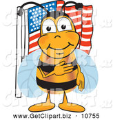 Clip Art of a Cheerful Bee Mascot Cartoon Character Giving the Pledge of Allegiance near an American Flag by Toons4Biz