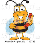 Clip Art of a Cheerful Bee Mascot Cartoon Character Holding and Pointing to a Telephone by Toons4Biz