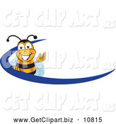 Clip Art of a Cheerful Bee Mascot Cartoon Character Logo with a Blue Dash by Toons4Biz