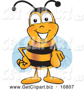 Clip Art of a Cheerful Bee Mascot Cartoon Character Pointing at the Viewer by Toons4Biz