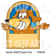 Clip Art of a Cheerful Brown Dog Mascot Cartoon Character with Open Arms on a Banner by Toons4Biz
