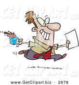 Clip Art of a Cheerful Brown Nosing Business Man Fetching Coffee and Papers for the Boss by Toonaday