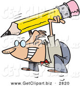 Clip Art of a Cheerful Caucasian Business Man Jumping with a Giant Pencil by Toonaday