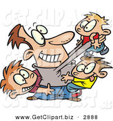 Clip Art of a Cheerful Father Horse Playing with His Three Sons by Toonaday