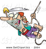 Clip Art of a Cheerful Pirate with a Sword Swinging on a Rope by Toonaday