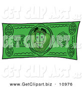 Clip Art of a Cheerful Red Apple Character Mascot on a Green Dollar Bill by Toons4Biz
