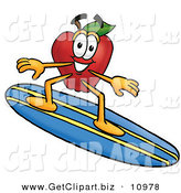 Clip Art of a Cheerful Red Apple Character Mascot Surfing on a Blue and Yellow Surfboard by Toons4Biz