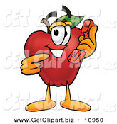 Clip Art of a Cheerful Red Apple Character Mascot Talking on a Telephone by Toons4Biz