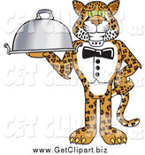 Clip Art of a Cheetah, Jaguar or Leopard Waiter Serving a Platter by Toons4Biz
