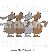 Clip Art of a Chorus Line of Dancing Dogs Kicking Legs up by Djart