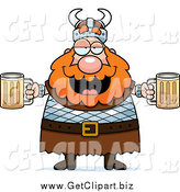 Clip Art of a Chubby Drunk Red Haired Viking Man Holding Beer by Cory Thoman