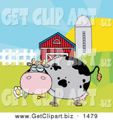 Clip Art of a Chubby Gray Cow Eating a Daisy in a Pasture by Hit Toon