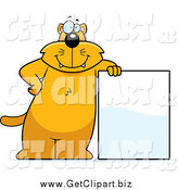 Clip Art of a Chubby Orange Cat Leaning on a Blank Sign by Cory Thoman