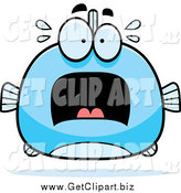Clip Art of a Chubby Screaming Blue Fish by Cory Thoman