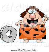 Clip Art of a Chubby Smart Cave Woman with a Stone Wheel by Cory Thoman
