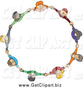 Clip Art of a Circle of Happy Children Holding Hands by Djart