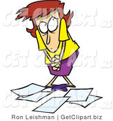 Clip Art of a Clumsy Woman Worker Being Scolded for Dropping Papers by Toonaday