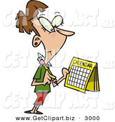 Clip Art of a Content Brunette Woman Marking a Day on Her Calendar by Toonaday
