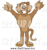 Clip Art of a Cougar Cheering by Toons4Biz